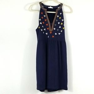 THML BLUE EMBROIDERED LARGE BOHO SLEEVELESS TOP